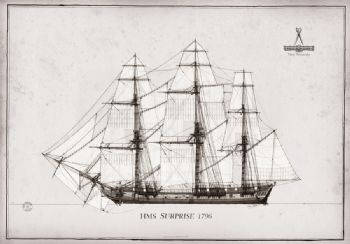 1796 HMS Surprise pen ink study